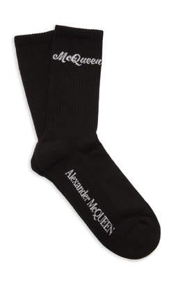 Alexander McQueen Ribbed Logo-Intarsia Stretch Cotton-Blend Socks Size