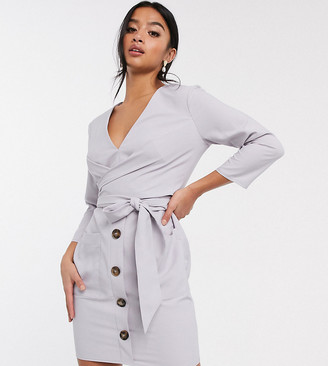 Asos DESIGN Petite button through tie wrap around mini dress
