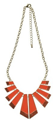 Tanya Creations, Inc. Women's Multi Drops Frontal Necklace - Gold/Coral