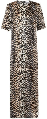 Ganni Leopard-print stretch-silk maxi dress