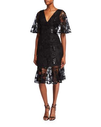 Dress the Population Roseanna V-Neck Flutter-Sleeve Lace Cocktail Dress