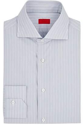 Isaia Men's Pinstriped Cotton Poplin Shirt - Light Gray
