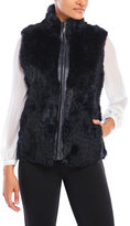 Volare Real Rabbit Fur Vest with Rib Knit Sides