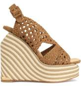 Paloma Barceló Woven Suede Espadrille Wedge Sandals