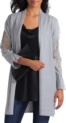 H Halston Long Lace Paneled Cardigan