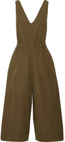 Ulla Johnson Zoe Cropped Cotton And Linen-blend Twill Jumpsuit - Army green