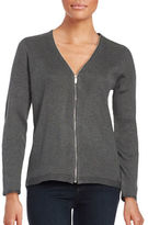 Calvin Klein Zip-Up Ribbed Knit Cardigan