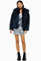 Topshop Womens Teal Faux Fur Coat - Teal