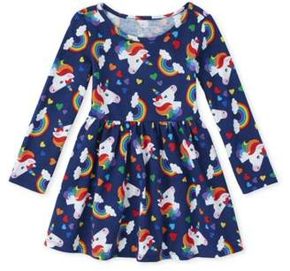Children's Place The Unicorn Rainbow Knit Pleated Dress (Baby Girls & Toddler Girls)