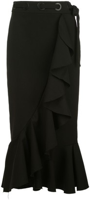 Johanna Ortiz Ruffle-Trimmed Midi Pencil Skirt