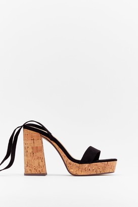 Nasty Gal Womens Cork the Cork Faux Suede Platform Sandals - Black - 4