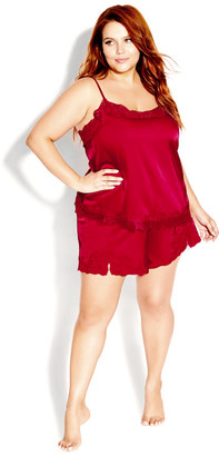 City Chic Ethereal Sleep Cami - scarlet