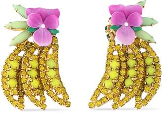 Elizabeth Cole Gold-tone, Crystal, Stone And Enamel Earrings