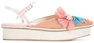 DELPOZO Raffia Platform Sandals