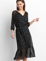 Gap Metallic print midi tier dress
