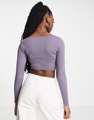 Pimkie seamless ribbed top co-ord in lilac
