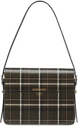 Burberry Large Tartan-Print Leather Grace Top-Handle Bag
