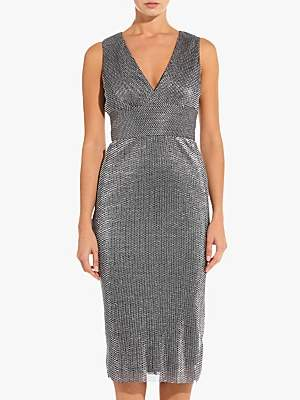 Adrianna Papell Chainmail Knit Dress, Black