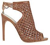 Alexandre Birman Jackye Crochet Leather Brown High Heel Sandals
