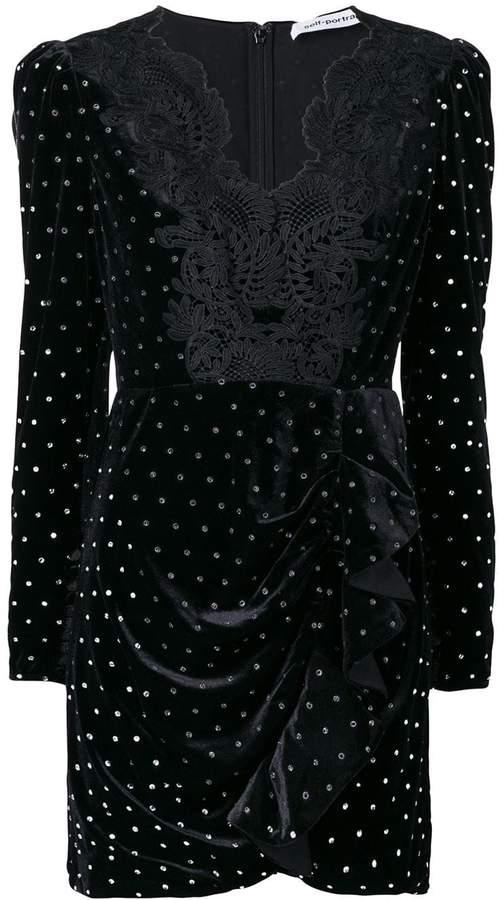 Self-Portrait glitter stone embellished dress