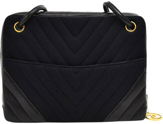 Chanel Black V Stitched Cotton And Leather Shoulder Bag