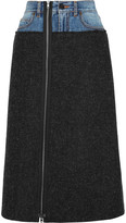 Maison Margiela Denim-paneled Felted Wool Midi Skirt - Charcoal