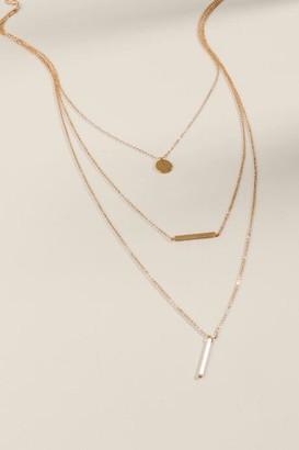 francesca's Kaitlin Multi Layered Bar Necklace - Gold