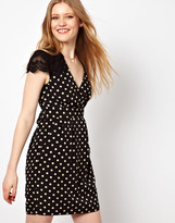 Darling Polka Dress With Lace