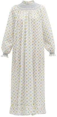 Loretta Caponi - Smocked Floral-print Cotton Maxi Dress - Womens - White Multi