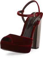 Tom Ford Velvet Platform 105mm Sandal, Wine