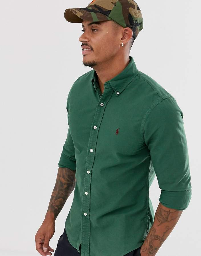 f80f58d4a garment dyed oxford shirt slim fit button down player logo in green