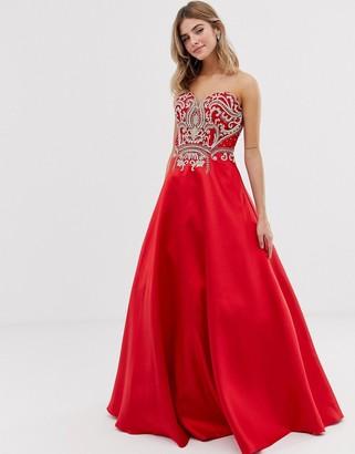 Jovani full skirt maxi dress with embellished detail