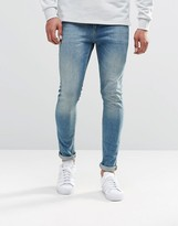 Asos Super Skinny Jeans In 12.5oz In Light Blue