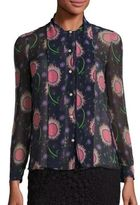 RED Valentino Silk Sunflower Tie-Neck Blouse