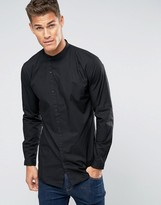 Lindbergh Shirt Slim Fit With Asymmetrical Placket In Black