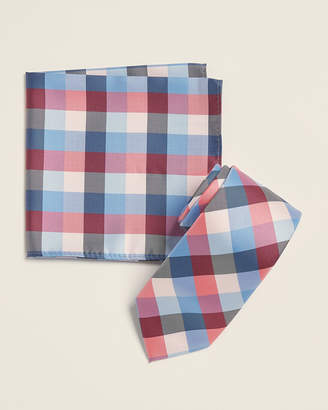 Nautica Two-Pack Pink Pacific Plaid Tie & Hanky