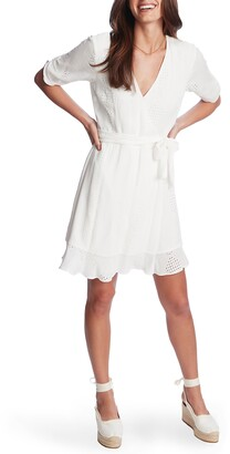 1 STATE Eyelet Crinkle Gauze Faux Wrap Dress