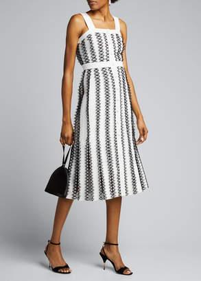 Huishan Zhang Lace-Striped Tweed Midi Dress