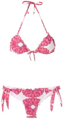 AMIR SLAMA Mandala abstract-print bikini set