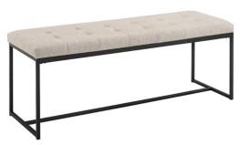 "Walker Edison 48"" Upholstered Bench with Metal Base - Tan"