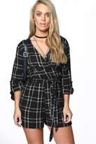 boohoo Plus Katie Checked Wrap Playsuit multi