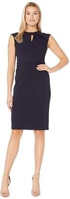 Maggy London Metro Knit Sheath Dress with Twist Neck (Navy) Women's Dress