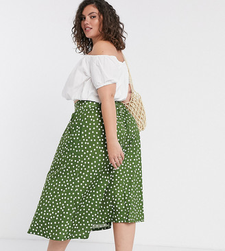 ASOS DESIGN Curve midi skirt with pockets in khaki polka dot