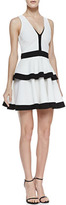 Torn By Ronny Kobo Torn Quinn Contrast Tiered Fit-And-Flare Dress, White/Black
