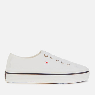 Tommy Hilfiger Women's Kelsey Corporate Flatform Trainers - White