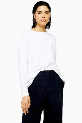 Topshop Womens **White Long Sleeve T-Shirt By White