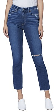 Paige Hoxton Slim Raw Hem Jeans in Slopes Destructed