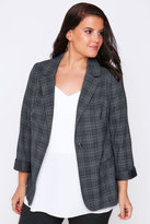 Yours Clothing Grey Checked Fitted Blazer Jacket