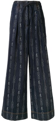 Tory Burch Chain Link-Jacquard Wide-Leg Jeans