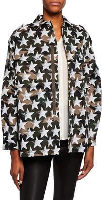 Valentino Camo Star Print Blouson-Sleeve Jacket